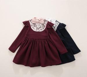 Image 4 - Зимние платья для маленьких девочек, хлопковые теплые платья принцессы для маленьких девочек, плотные кружевные платья для девочек с бантом