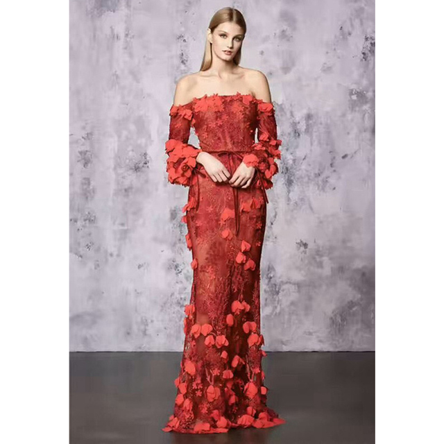 beigered flowers embroidered dress ladies gown off shoulder tie belt see through maxi dress - Red Dresses For Christmas