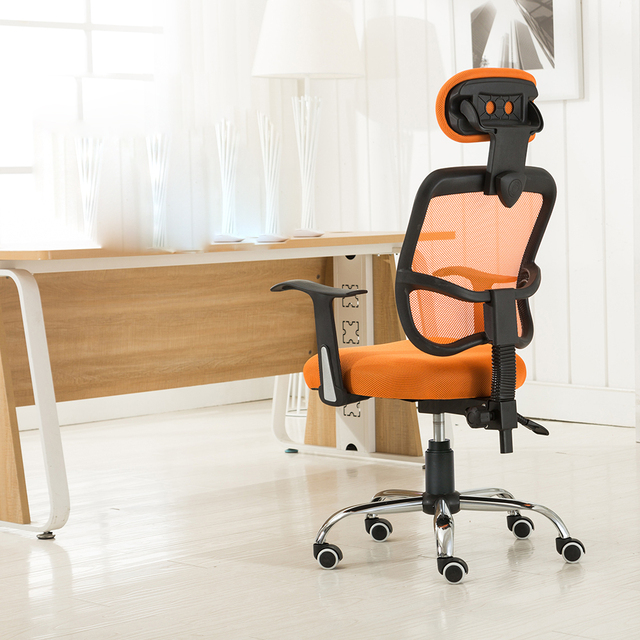 Orange Mesh Back Gas Lift Tilt Adjule Computer Office Swivel Chair Seat With Headrest