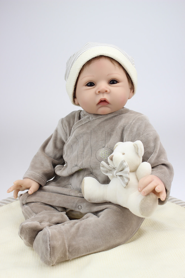 55 cm boy gray clothes reborn baby doll toys top quality imported silicone bonecos new year gift