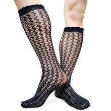 Mens Kneel High silks Socks Wave Striped Sheer Thin Sexy Male Long socks stretch Man Formal Dress Business Stockings