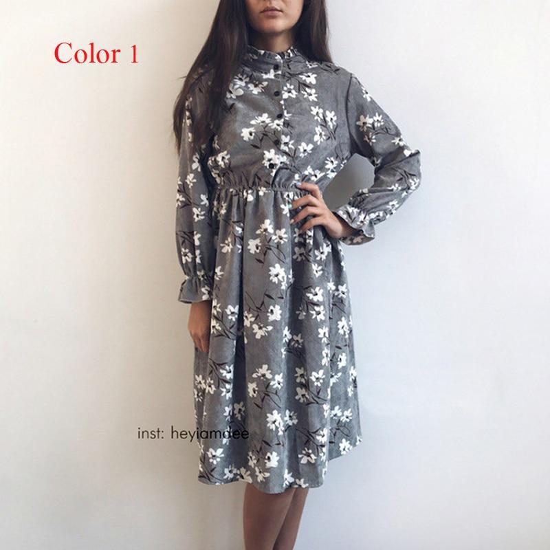 Corduroy High Elastic Waist Vintage Thick Winter Dress A-line Style Women Full Sleeve Flower Plaid Print Dresses Slim Feminino