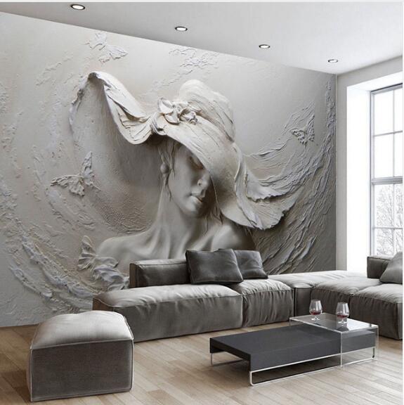 Benutzerdefinierte Tapete 3D Stereoskopischen Geprägt Grau Schönheit  Ölgemälde Moderne Abstrakte Kunst Wandbild Wohnzimmer Schlafzimmer Tapeten(
