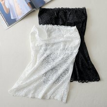 White lace long Slim vest Girl's underwear A piece lingerie with chest pad Wrap chest chest pocket wrap blouse