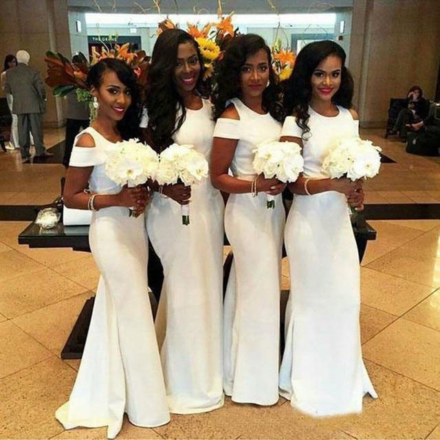 White Bridesmaid Dresses Long | Vestido De Festa De Casamento Royal Blue White African Bridesmaids