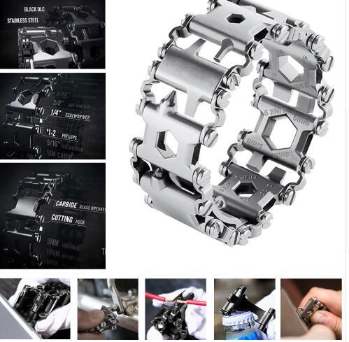 Men's Fashion EDC Stainless Steel Bracelet Outdoor Tool Bracelets Bangles stainless steel cuticle removal shovel tool silver