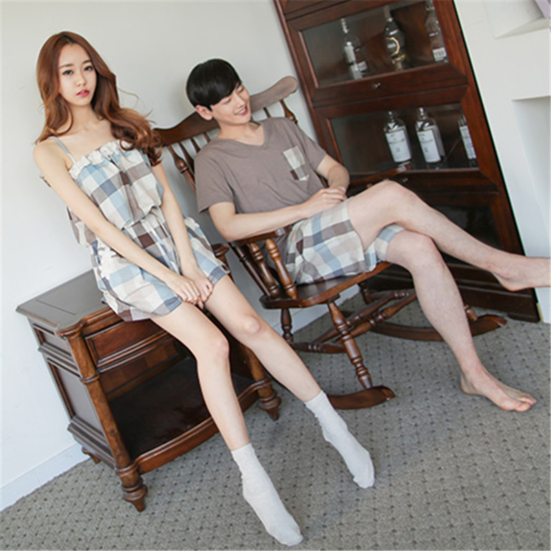 Korean Summer Cotton Couple Pajamas Set Short Lovers Pyjamas Men & Women Sleepwear Pijama Leisure Home Wear Clothes