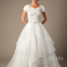 cecelle Ball Gown Wedding Dresses Cap Sleeves