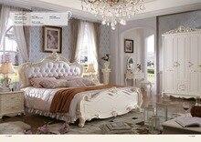 Cabecero プロモーション王寝室の家具 2019 新しい王女ソフトベッドコンチネンタル彫フレンチ高さボックス革王子