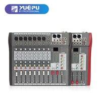 YUEPU RU-8T Profesjonalny Mikser Audio 8 Kanałów Dźwięku 48 V Zasilanie Phantom Reverb FX DJ Miksera USB Odtwarzacz Muzyki Stereo