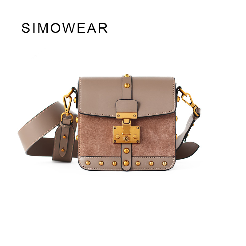SIMOWEAR 2017 Fashion Split Leather Handbag With Rivet Women Messenger Bags High Quality Shoulder Bag Flap new split leather snake skin pattern women trunker handbag high chic lady fashion modern shoulder bags madam seeks boutiquem2057