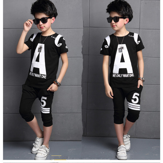 eb8cf642753 2018 Brand Summer Boy Sport Print A Clothing Set Short Sleeve T-Shirt+  Short Pants Summer Boy School Fashion Clothes Set