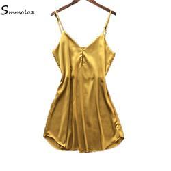 Smmoloa дамы женственная шелковая ночная сорочка атласная ночная рубашка с v-образным вырезом Slip ночные рубашки летнее Ночное платье кружево