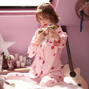 Image 5 - Frauen Schlaf Lounge Elegante Floral Pyjama Set Herbst Baumwolle Hemd und Hose Zwei Stücke Nachtwäsche Sexy Mantel Set Casual Homewear