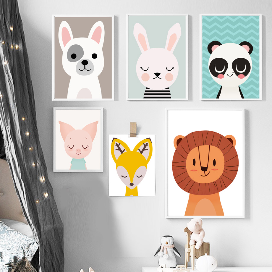 COLORFULBOY Lion Deer Panda Rabbit Dog Kids Wall Art Canvas Painting Animal Posters And Prints Pictures Room