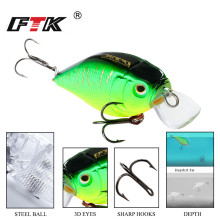 Купить с кэшбэком FTK colorful Fishing Lure 1pcs 50mm 9g Wobbler Tackle Crankbait Artificial Hard  Bait