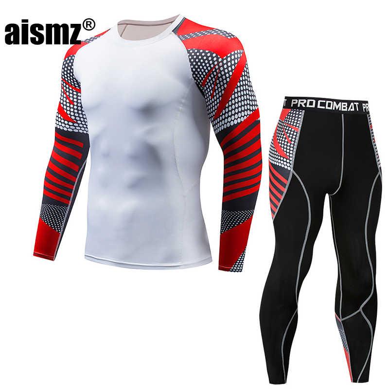 Aismz Nén tracksuit người đàn ông Bộ MMA rashgard công đoàn phù hợp với Người Đàn Ông của Long T-Shirt + vớ Set Moletom Masculino Tập Thể Dục Quần Áo