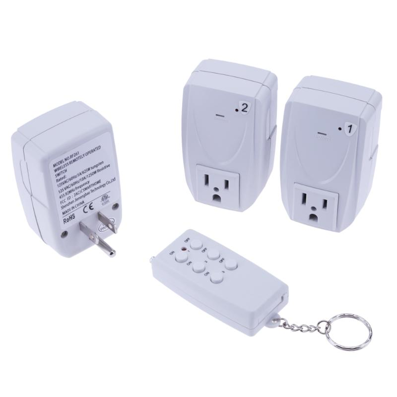 4pcs/set Smart Wireless Remote Control Power Outlet Socket Switch Home Appliance One Remote to Control 3 US Plugs Home Switch one set 4 pcs 95mm