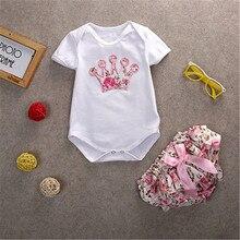 2pcs Newborn Baby Girl Cotton Romper Bodysuit Floral Pants Sets Clothes Outfits