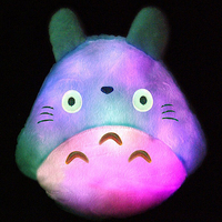 Totoro Led Luminous Plush Pillow Colorful Light Lovely Totoro Cushion Toy Decorative Wedding Gift Christmas Gift