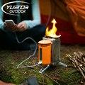 Ultraligero estufa de acero inoxidable con dispositivo usb-cargables yuetor para mochilero picnic bbq cocina al aire libre estufa de leña