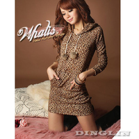 New Fashion Women S Clothing Long Sleeve Leopard Print Party Cocktail Hoodie Hooded Mini Dress Size