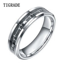 6mm Tungsten Metal Rings with Cardiogram Carbon Fiber Inlay Women Wedding Band Comfort Fit