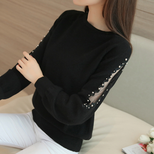 Image 2 - OHCLOTHING 2019 autumn winter sweater hedging all match  loose sweaters female short lace beading shirt solid