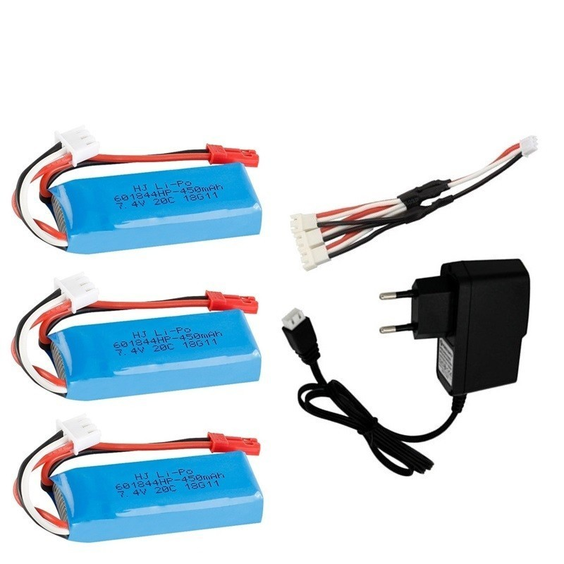 7.4V 450mAh Lipo Battery With 7.4v Charger Sets For WLtoys K969 K979 K989 K999 P929 P939 RC Car Parts 7.4v 2s Battery Toys Cars