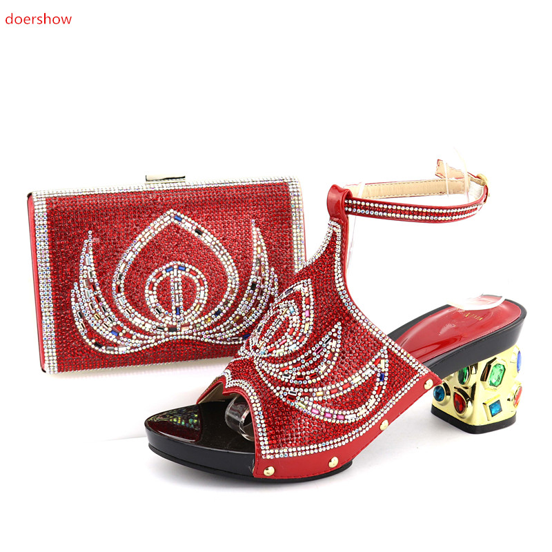 doershow Italian Shoes and Bag Sets Women Shoes and Bag Set African Matching Shoes and Bag Set Decorated QV1-16 italian berlitz reference set