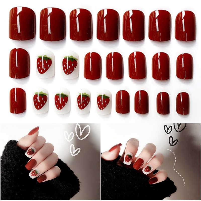 24pcs/set Pretty Strawberry Pattern Double-sided sticker Acrylic Nail Art Fake Nails Tips Decorated for UV Gel Accessories Kit