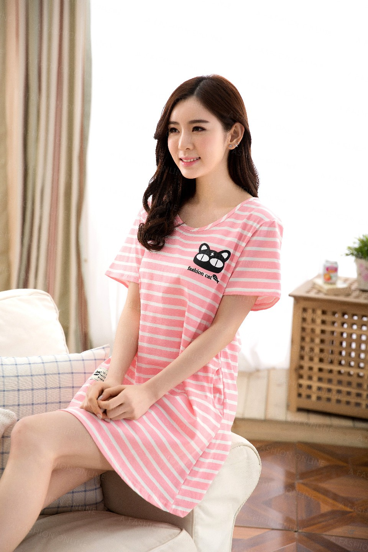 2016 Fashion Brand Women Cotton Striped Sleepshirts Sleep Dress ... 33ba83fd3