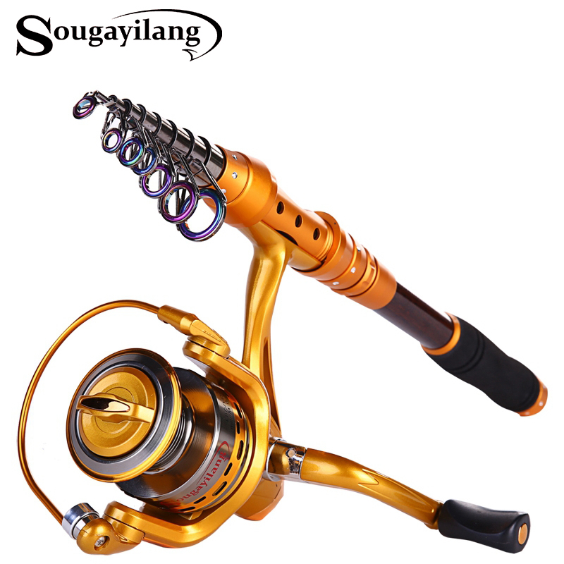 fe3146eb4a0 Sougayilang Fishing Rod Reel Combo Kit Carbon Fiber Telescopic Pole With  Full Metal Reel Spinning Fishing Reel Fishing De pesca-in Rod Combo from  Sports ...
