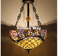 Newly Stained Glass Pendant Lamp Antique 16 Suspension Lights Living Room Glass Dragonfly Flower Baroque Kitchen
