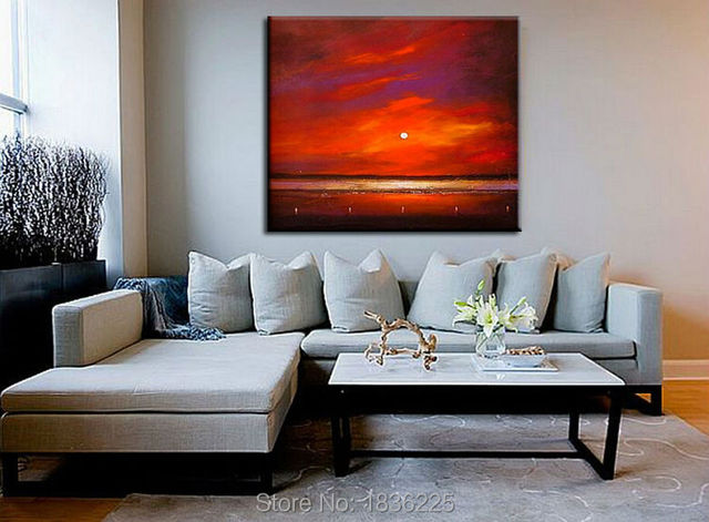 Best Selling Item Artesanal Pó Aquarela Pinturas Abstratas Na Lona Do Por  Do Sol Pintura A Part 92