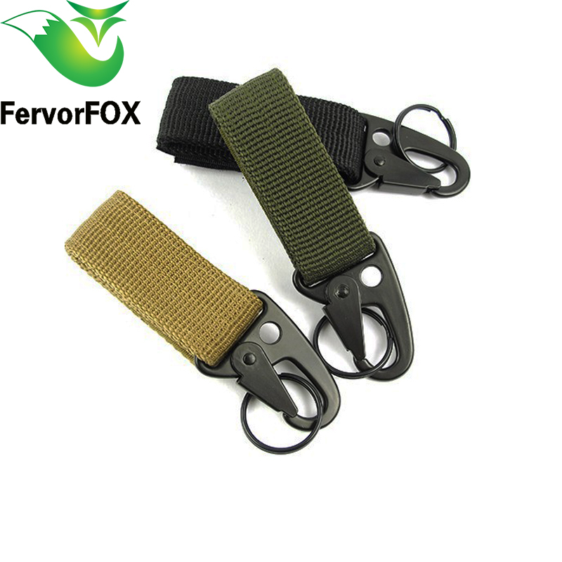 все цены на 3PCS/lot High Stength Nylon Carabiner Lock Military keychain Hook Webbing Molle Buckle Outdoor Handing Belt Clip Buckle онлайн