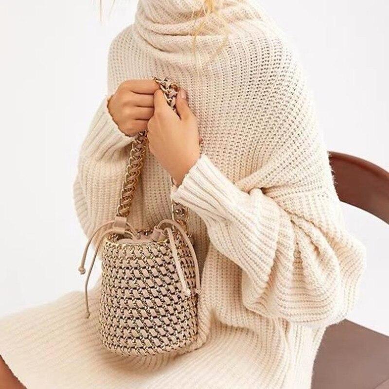 NEW Designer 2019 Summer Women's Bucket Straw Bag Woven Handbags Ladies Straw Beach Bag Female Crossbody Messenger Bag
