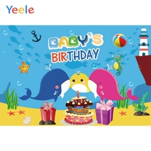 Yeele Cartoon Ocean Dolphins Fish Baby Birthday Party Sea Photography Backdrops Children Photographic Backgrounds Photo Studio