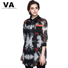 VA Black Print Blouse For Women 2017 New Spring Summer Fashion Casual POLO Collar Long Loose Pullover Shirt Top Plus Size W00950