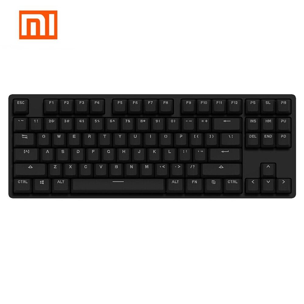 Xiaomi 87 Ключи синий Настенные переключатели Профессиональный Механическая игровая клавиатура светодиодный подсветкой Подсветка Проводной ...