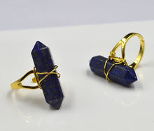 YA1920 Lapis Point Gold Wire Wrapped Ring Adjustable 32x8mm(China)