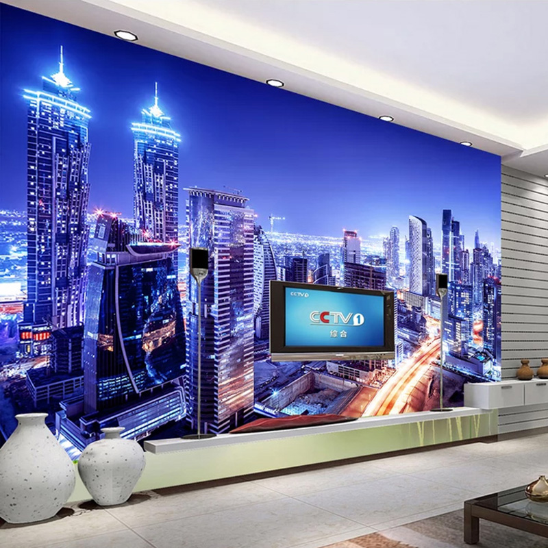 City Night View 3D Photo Wallpaper For Living Room Bedroom