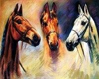 3D DIY Diamond Painting New Pictures Three Horses Cross Stitch Needlework Diamond Mosaic Diamond Embroidery Crafts