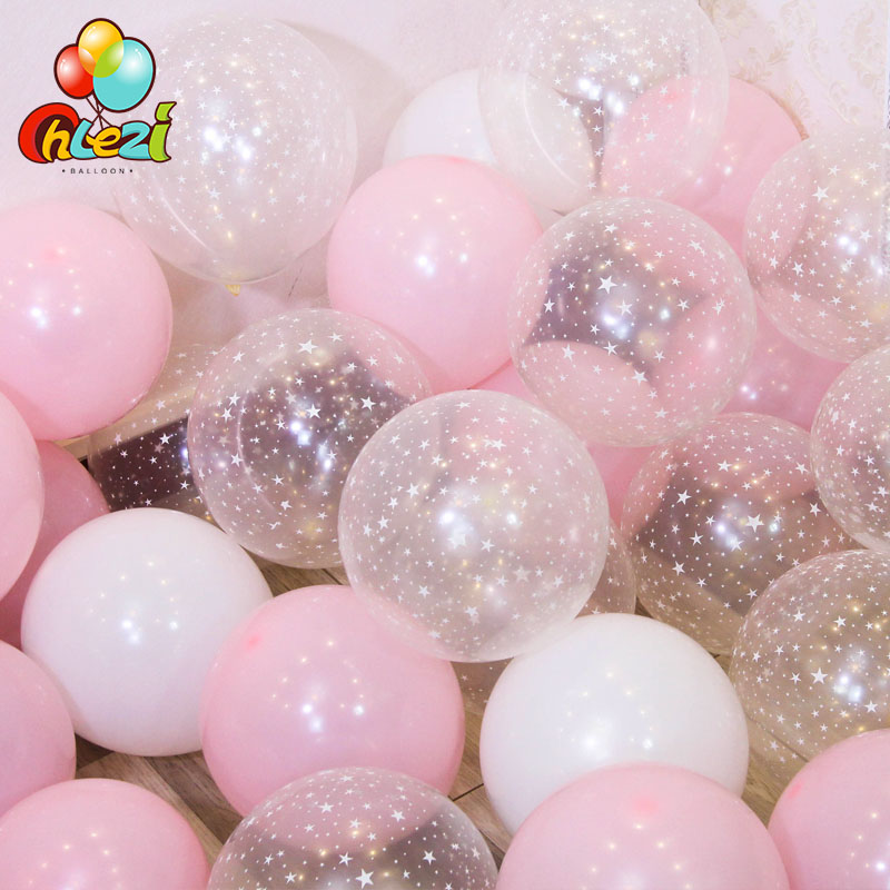 20pcs 12 inch Latex Balloon Set Star Clear Pink Gold Balloons Wedding Decoration Baby Shower Birthday Party Supplies Home Decor
