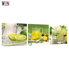 WEEN Framed 3Pcs Lemon Fruit Wall Canvas Arts For Living Room Modern Lemonade Poster Module Painting Directly Handed 2017(China)