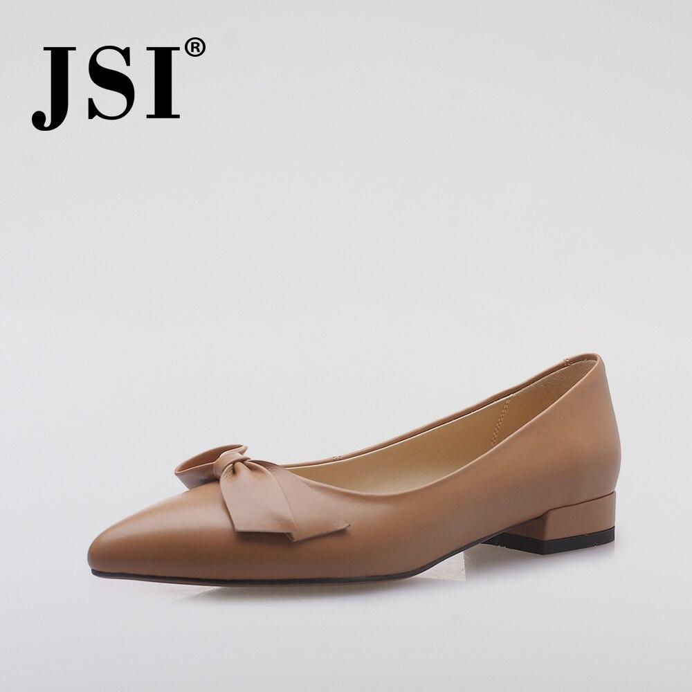 JSI printemps nouveau décontracté femmes appartements mode Sexy bout pointu sans lacet papillon-kont dame chaussures qualité en cuir véritable appartements JO27
