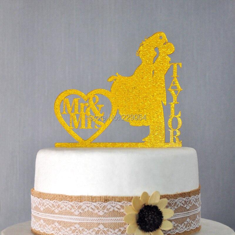Custom Wedding Cake Topper, Personalized cake topper, Glitter ...
