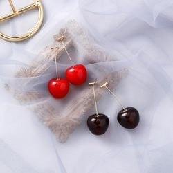 Korean Fashion Earring Red Cherry Fruit simple Earrings For Women Dangle Brincos Sweet Long Pendant Girls Ear Jewelry