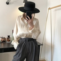 Sannian 2019 Spring New Korean Temperament Lazy Lapel Shirt Mercerized High Quality Loose Thin Satin Tops Women
