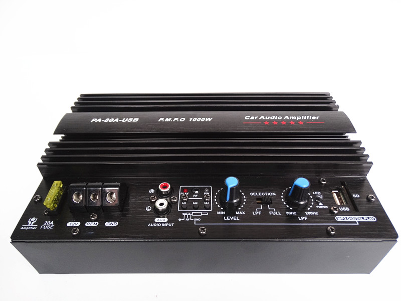 1000W car Subwoofer power amplifier with USB plug U disk card SD Play musi mono bass amplifier board with 10 inch speaker 1000w high power car stereo subwoofer amplifier board with installation box for 8 12 inch speaker